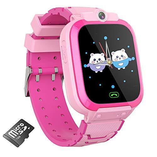 AOYMJRS Smartwatch für Kinder, Spiel Uhr für Mädchen und Jungen Touchscreen-Uhr für Kinder mit 14 Spielen 1 GB SD-Karte MP3-Musikplayer Kamera Wecker Schrittzähler-Smartwatch (Rosa)