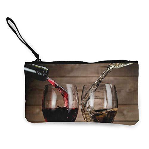 Botellas de vidrio para bebidas de vino, monedero de lona con cremallera, monedero para mujeres, bolsas de maquillaje para niñas y mujeres