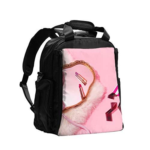 Rosa teléfono lápiz labial cosméticos mujeres bolsa de pañales mochila de gran capacidad bebé pañales mochilas bolsas cuidado para viajes multifunción moda