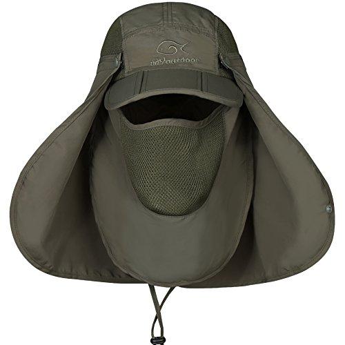 DDYOUTDOOR Fishing Cap Neck Face Flap Hat Green
