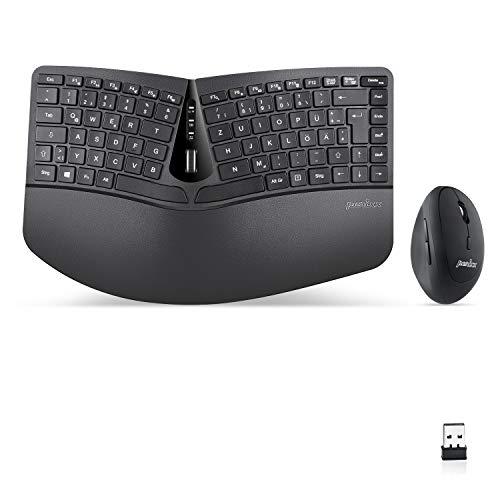 Perixx Periduo-606, Ergonomische kabellose kompakte Tastatur und Vertikale Maus Desktop Set, Geteiltes Tastenfeld, 4-Wege-Scrollrad, Anpassbare Handballenauflage und flachen Tasten mit Vertikalmaus