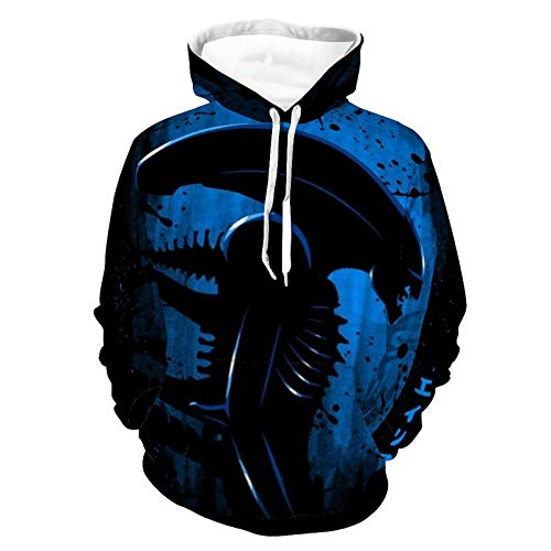 Alien Side Profile Blue Themed pattern full-print sports hooded sweatshirt