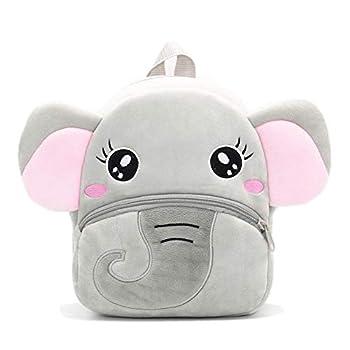Nice Choice Cute Toddler Backpack Toddler Bag Plush Animal Cartoon Mini Travel Bag for Baby Girl Boy 1-6 Years  Grey Elephant