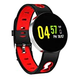 YDL Smart Watch Men Alloy Shell Presión Arterial a Prueba De Agua SmartWatch Mujere Tracker Rastreador del Corazón Reloj De Monitor para Android iOS (Color : X11 Red Silver)