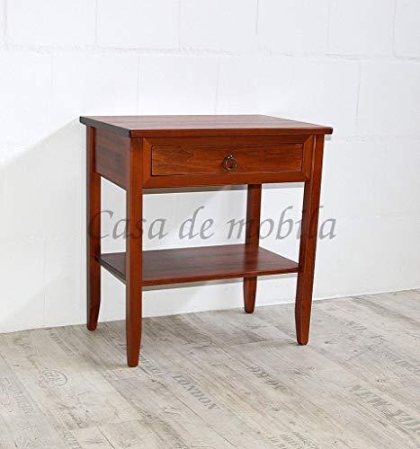 Casa Massivholz Pappel Beistelltisch kirschbaumfarben lackiert 58x37 cm Nachttisch rotbraun Konsolentisch