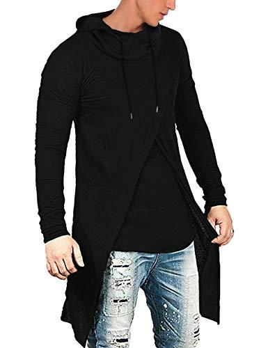 COOFANDY Men's Slim Fit Hoodie Lightweight Hooded Sweatshirt Casual Hip Hop Long Length Cloak Cotton Blend Pullover (Black, XX-Large)