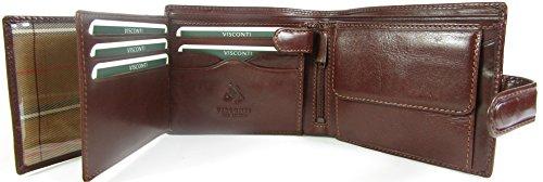 New Visconti Monza Rome Italian Glazed Leather RFID Blocking Mens Wallet Money Bag Style Rome MZ5 Brown