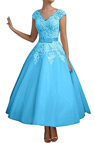 La_mia Braut Damen Blau Kurzes Spitze Abendkleider Brautmutterkleider Jugendweihe Kleider A-linie-38 Blau