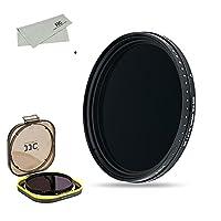 JJC 可変式NDフィルター 46mm 減光フィルター ND2-2000調整可能 18層マルチコーティング Nikon Z50 Z fc + Nikkor Z DX 16-50mm F3.5-6.3 & Z MC 50mm F2.8 / Panasonic G7 + Lumix G 14-42mm F3.5-5.6 II など Ф46mmレンズ適用 撥水 撥油 薄枠設計 防湿フィルター保護ケース + 超極細繊維布付き
