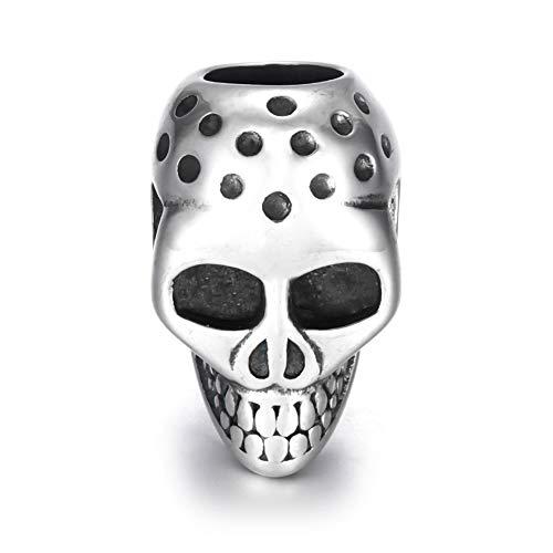 EKimmer Cuentas cráneo ennegrecer Metal Agujero Grande 6Mm Ajuste de Cuentas Deslizador DIY Hombres Pulsera Hacer Suministros joyería Blacken