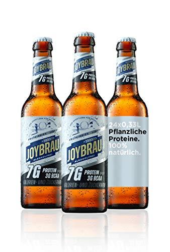 JoyBräu Proteinbier Light natürlich alkoholfrei für Muskelaufbau und Diät: 7g veganes Protein, 3g BCAA, kalorienarm, zuckerarm, 24x0,33l