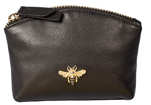 Mala Leather Coin & Card Purse Black Bumble bee RFID Protection - Mason Collection (Black with red Lining)
