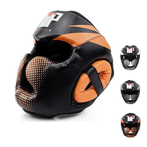 TTP Essential Professional Boxing MMA Kickboxing Head Gear (Orange, L/XL)