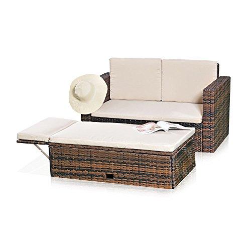 Melko Lounge Sofa-Garnitur Gartenset, Poly Rattan, mit klappbarer Fußbank, Schwarz, inklusive Kissen, mehrteilig, Braun