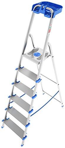 Colombo New Scal - Scala in Alluminio Ovalizzato 6 gradini Antiscivolo Extra Large, Ampia Piattaforma Piedini Antiscivolo e Portautensili