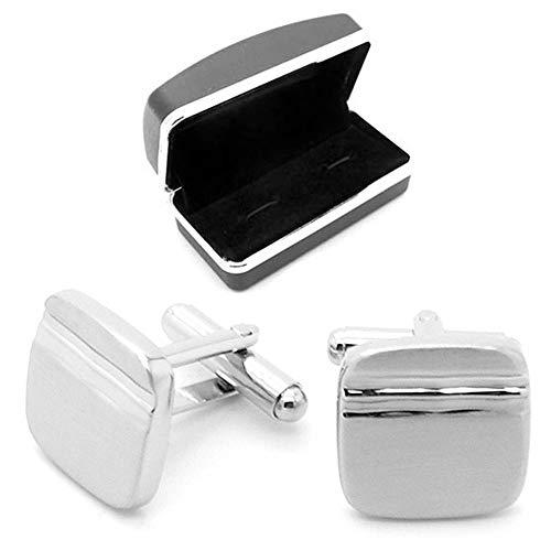 tumundo 2 Silberne Manschettenknöpfe + Geschenkbox Cufflinks Hemd Krawatte Anzug Hochzeit Business Herren Manschetten