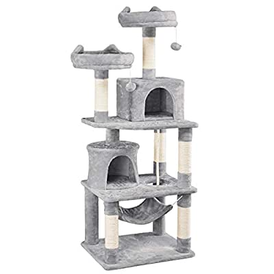 YAHEETECH 62.2inches Cat Tree Cat Towers Cat Condo with Platform & Hammock, Scratching Posts for Kittens Pet Play House with Plush Perch for Indoor Activity Relaxing