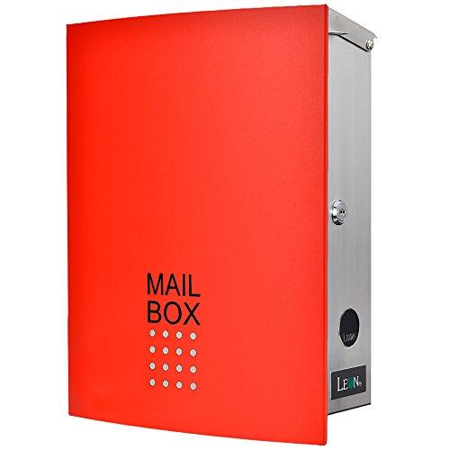 LEON (レオン) MB4504ネオ 郵便ポスト 壁掛けタイプ ステンレス製 鍵付き おしゃれ 大型 ポスト 郵便受け (マグネット付き) レッド