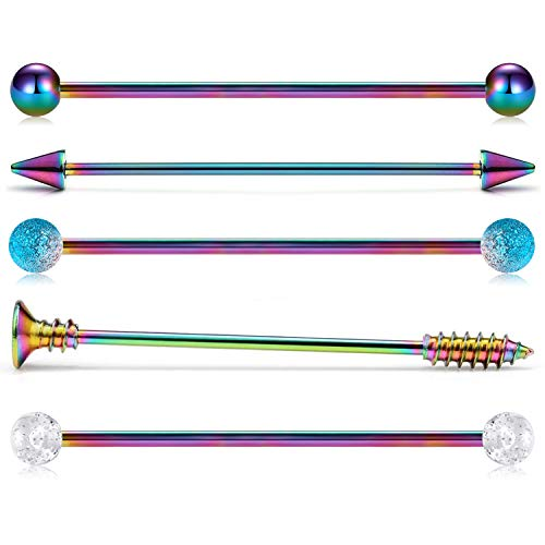 incaton 14G Largo Industrial Barbell Pendientes cartílago Helix Tragus Piercing Body Piercing joyería 38 mm Color del Arco Iris