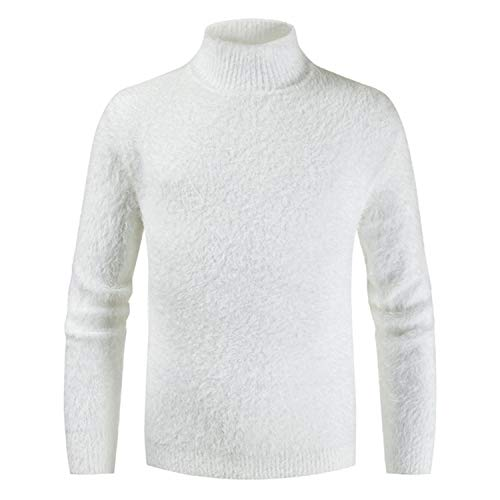 Men's Turtleneck Knitted Sweater Cashmere Wool Winter Sweater,White,XL