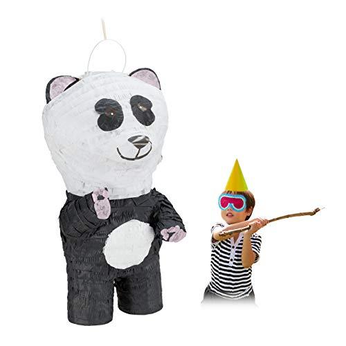Relaxdays Pinata Panda, zum Aufhängen, Kinder & Erwachsene, Geburtstag, zum Befüllen, HBT 50 x 25 x 25 cm, weiß/schwarz