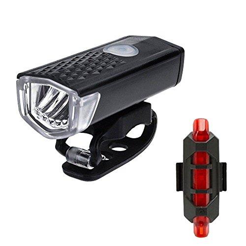Hingpy USB wiederaufladbare LED Fahrrad Scheinwerfer Frontlicht Rücklicht Wasserdicht Fahrrad Licht Rücklicht Set Licht für Fahrrad 2 Lichtmodi
