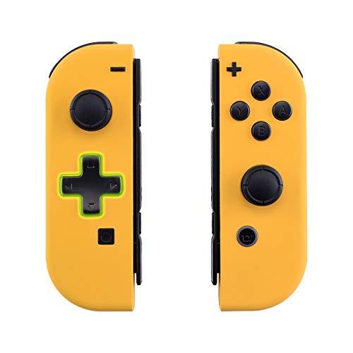 eXtremeRate Carcasa Joy-con Botones Completos D-Pad para Nintendo Switch Funda de Agarre Reemplazable Tacto Suave Shell para Nintendo Switch No Incluye la Carcasa de la Consola (Amarillo)