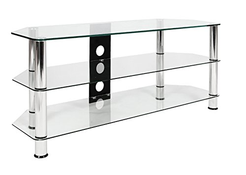 Mountright Clear Glass TV Stand Unit 120 CM Wide Table For Most LED LCD OLED Plasma Televisions 32 Up To 60 Inch