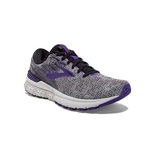 Brooks Womens Adrenaline GTS 19 Running Shoe - Black/Purple/Grey - B - 8.5