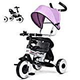 HONEY JOY Kids Tricycle, 4-in-1 Steer Stroller w/Learning Bike, Detachable Guardrail & Removable Canopy, Baby Foldable Trike for Single Boy Girl, Safety Harness, Storage Bag, Brake(Pink)