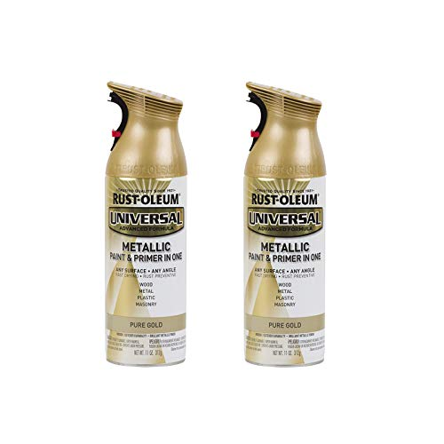Rust-Oleum 245221A2 Universal All Surface Metallic Spray Paint, 2 Pack, Pure Gold, 2 Count