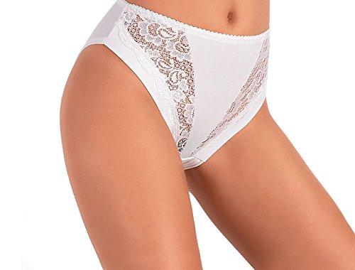 JADEA -Slip Vita Alta Donna in Cotone Modal Art. 788 Bianco e Nero - Confezione da 6 Pezzi - con Inserti in Pizzo