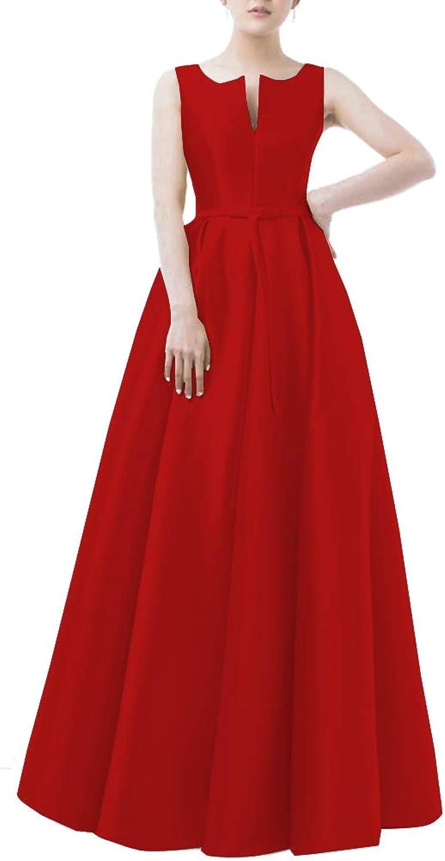 CiONE Long Bridesmaid Dresses Satin Prom Dress High Neck
