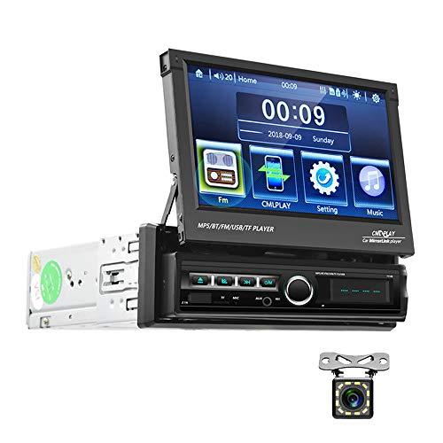 Bluetooth Autoradio 1 din Touchscreen capacitivo pieghevole da 7 pollici CAMECHO FM Radio Con USB AUX-in Slot per scheda SD Supporto Link mirror per telefono Android iOS + Telecamera posteriore