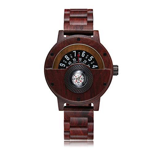 PLUIEX Holzuhr Neue einzigartige Kompass-Plattenspieler Zifferblatt Massivholzuhr Herren Brown Wood Band Kreative Armbanduhren aus Naturholz, braun
