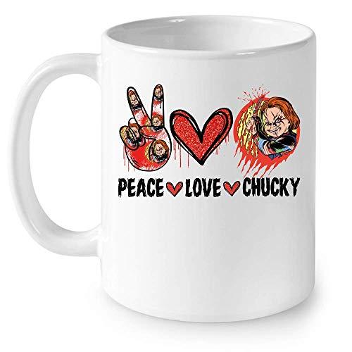 N\A Peace Love Chucky Horror Personaje Película Disfraz de Halloween Taza de cerámica Tazas de café gráficas Tazas Blancas Tapas de té Novedad Personalizada 11 oz