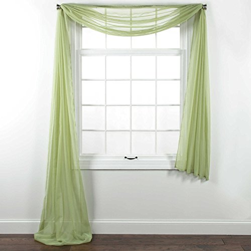 """Jody Clarke 1PC Solid Sheer Scarf Valance Topper Curtain Drape in 216"""" for Wedding Quinceniera Party décor in Multiple Colors (Sage)"""