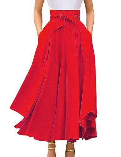 SOMTHRON para Mujeres Vintage Plisada Cintura Alta Falda Maxi con Bowknot Elegant Monocroma Skirt Falda de Verano con Volantes LargaS-2XL
