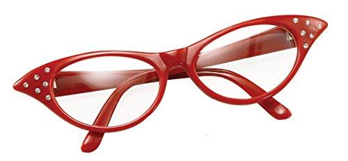 Bristol Novelty Novelty-BA142R BA142R Lunettes pour femme façon années 50, Rouge, Red, taille unique
