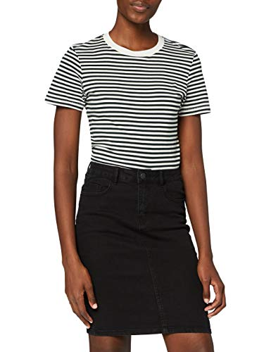 VERO MODA Damen VMHOT Nine HW DNM Pencil Skirt GA NOOS Rock, Schwarz (Black Black), L