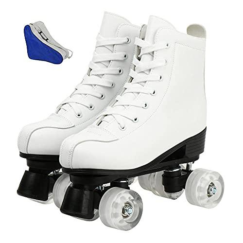 Frauen PU Mikrofaser Inline-Skates Eislaufschuhe gleiten Inline Quad Skateboards Sneakers Training Europa Größe 2 Zeile 4 Räder Für Kinder Und Erwachsene Weiß kein Blitz 260 UK7 EUR40.