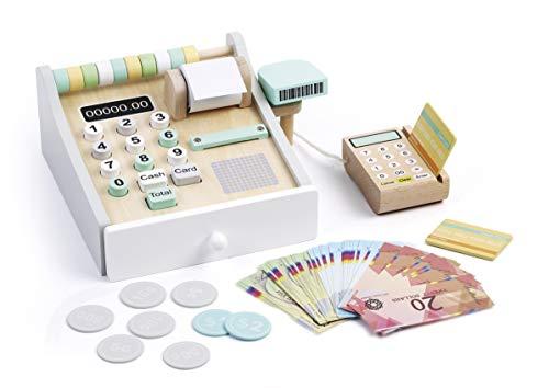 Leomark Caja registradora de Madera - 2 en 1 - Multicolor con la calculadora, Scanner y Lector de Las Tarjetas, diversión y Aprendizaje