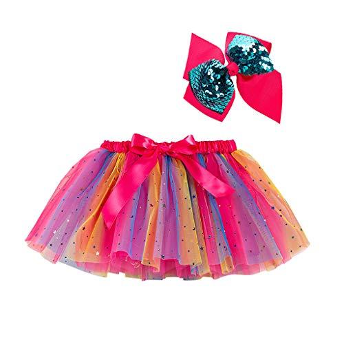 Kinder Mädchen Kostüm Kleidung Set Party Tanz Ballett Spleiß Regenbogen Tüll Rock + Bogen Haarnadel, Pink-4, 5-8 Jahre