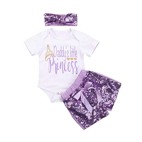Ersten Vatertag Outfits Baby Mädchen Kleidung Baby Shorts Set Papas Prinzessin 3pcs Kurzarm Sommer Strampler Outfit Set
