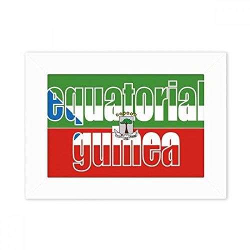 DIYthinker Äquatorial-Guinea Flagge Name Desktop-Foto-Rahmen-Weiß-Bild-Kunst-Malerei Passt 10.2 x 15.2cm (4 x 6 Zoll) Bild Mehrfarbig