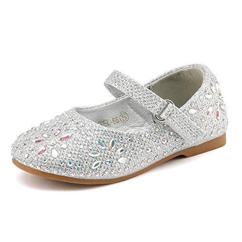 DREAM PAIRS ANGEL-66 Mary Jane Rhinestone Embelishment Throughout Ballerina Flat Silver 9 M US Toddler