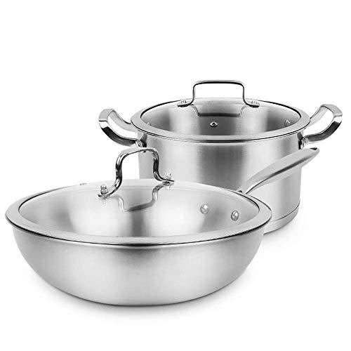 WRMIGN - Pentole da cucina in acciaio inox, stile classico, per cucina e zuppetta, molteplici utilizzi, per casa o ristorante e cucina, idea regalo con coperchio in due pezzi, wok (colore: argento)