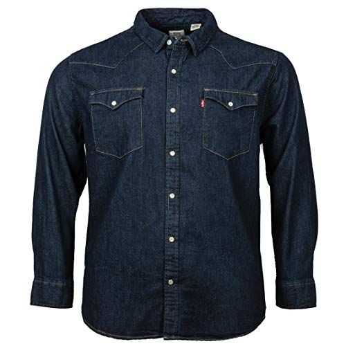 Levi's Big and Tall Hombre Classic Western Camisa Vaquera, Azul (Red Cast Rinse Takedown H2 19 0004), XXXX-Large