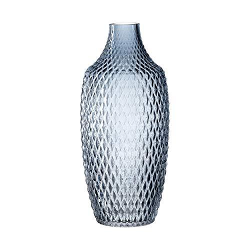 Leonardo Poesia Tisch-Vase, handgefertigte Deko-Vase in Blau, ovale Blumen-Vase aus Glas, Tisch-Dekoration mit Relief-Optik, 30 cm hoch, 018678