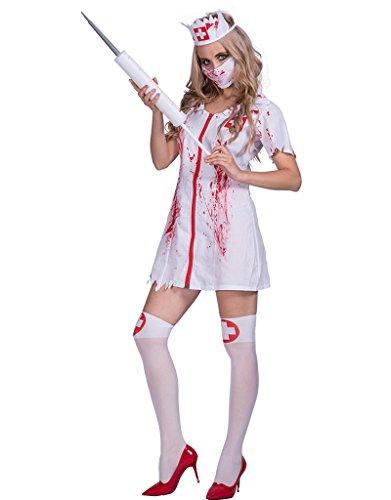 EraSpooky Halloween Killer Caregiver Women Zombie Bloody Nurse Costume White